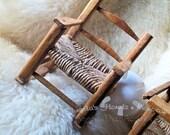 Vintage Doll Rocker Rocking Chair Furniture Rustic Woven Wicker Seat Bear Doll Chair Good Vintage Doll Furniture Rush Seat Display Rocker