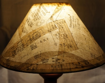 unique lamp shade covered in vintage paper patterns gives a warm conversational glow - Unique Lamp Shades