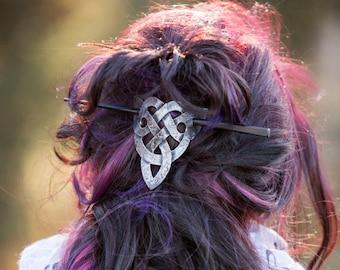 Celtic Trinity Knot Leather Hair Barrette, Leather Barrette, Hair Barrette, Hair Accessory, Shawl Pin