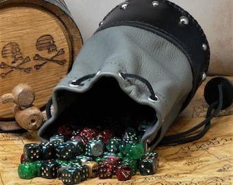 Leather Dicebag Grey/Black RPG Dice bag, Tabletop dicebag, Gaming Dice bag, Dungeons and Dragons dicebag, Dice pouch