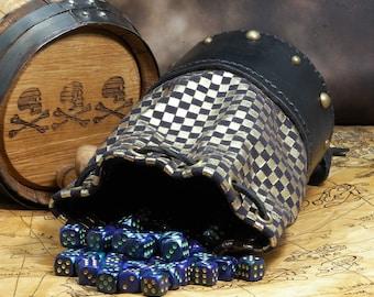 Leather Dicebag Black Gold Checkered RPG Dice bag, Tabletop dicebag, Gaming Dice bag, Dungeons and Dragons dicebag, Dice pouch