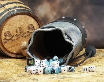 Leather Dicebag Grey-Blue w/Black and Gunmetal RPG Dice bag, Tabletop dicebag, Gaming Dice bag, Dungeons and Dragons dicebag, Dice pouch