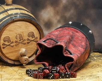 Red Leather Dicebag Dragon Hide Dice bag, Dragon dicebag, Gaming Dice bag, Dungeons and Dragons dicebag, Dice pouch