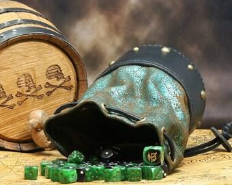 Leather Dicebag Metallic Green and Black RPG Dice bag, Tabletop dicebag, Gaming Dice bag, Dungeons and Dragons dicebag, Dice pouch