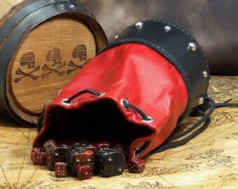 Leather Dicebag Red/Black RPG Dice bag, Tabletop dicebag, Gaming Dice bag, Dungeons and Dragons dicebag, Dice pouch