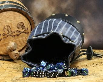 Leather Dicebag Blue/Grey Pinstripe & Black/Brass RPG Dice bag, Tabletop dicebag, Gaming Dice bag, Dungeons and Dragons dicebag, Dice pouch
