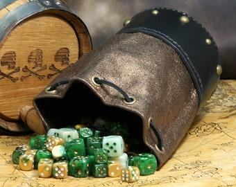 Leather Dicebag Metallic Brass Black RPG Dice bag, Tabletop dicebag, Gaming Dice bag, Dungeons and Dragons dicebag, Dice pouch