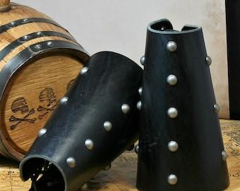 Medieval Studded Leather Bracers LARP , SCA, Pirate