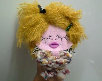 Felt Brooch Girl Portrait Mademoiselle Citrouille Miss Pumpkin