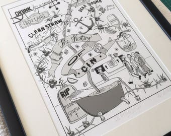 The History of Gin - Limited Edition Giclée Print