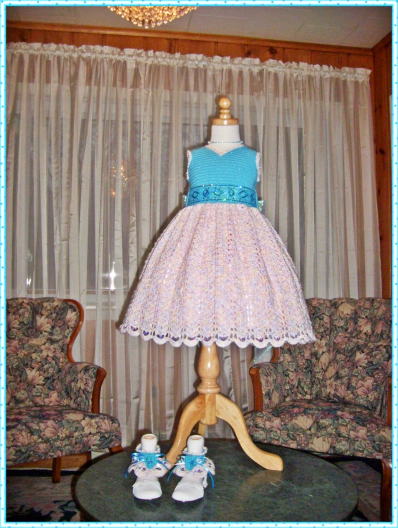 7658c853a8 Tiffany s Sparkling Topaz Ensemble Crochet Children Dress