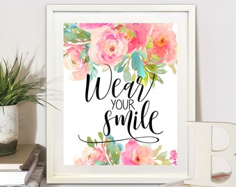 ArtCult printable artworks WEAR YOUR SMILE inspiration quote, instant digital print download for home and office decoration, craft projects