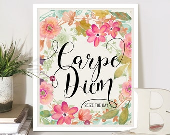 """Printable Artwork Spiritual bible quote """"Carpe Diem"""" Seize the day. 8""""x10"""" and 11x14 inch size pages digital download home decor by ArtCult"""