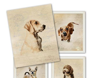 "Printable Artworks "" MY BEST FRIENDS""  Gorgeous Dogs, set of 4 images for home / nursery decor, Instant digital download, art prints ArtCult"