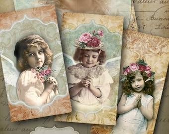 Printable images MY LITTLE PRAYER Gift Tags, greeting cards, Digital Collage Sheet Vintage ephemera decoupage Paper Craft Art Cult designs