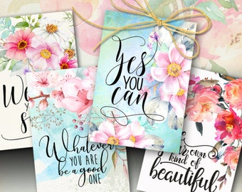 """Printable MOTIVATIONAL GREETING CARDS No.5 digital download 3.5""""x5"""" size images hand-painted flowers typography art for decoration and craft"""
