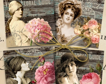Printable download MY EDEN GARDEN Digital Collage Sheet 3.8x3.8 inch size vintage ladies images for coasters, greeting cards by Art Cult