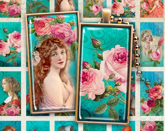 1x2 inch Printable images WOMEN AND ROSES print-it-yourself Digital Collage Sheet for domino pendants magnets bezel settings photo trays