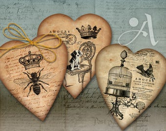 Printable HEART GIFT TAGS No.2, Instant Download Digital Collage Sheet Jewelry Holders Vintage ephemera downloadable Paper, ArtCult designs