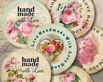 Printable Download HANDMADE WITH LOVE Digital Collage Sheets 1.5 and 2 inch size round labels, stickers, ArtCult paper craft graphics