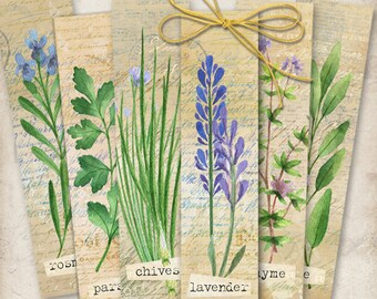 Printable Digital Collage Sheet HERBS BOOKMARKS Instant Download, Paper goods for journaling scrapbooking artcult print-it-yourself goods