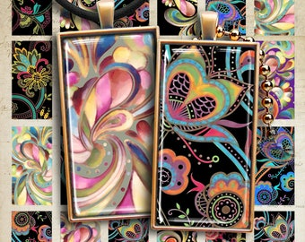 Printable Download ORNAMENTAL DOMINO Digital Collage Sheet 1x2 inch size images for pendants bezel trays magnets scrapbooking paper craft