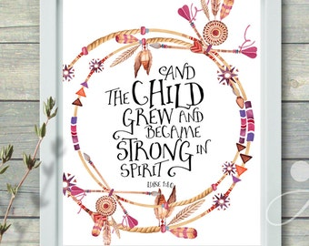 ArtCult Printable Artwork digital download Scripture Bible verse, Luke 1:80, print-it-yourself art poster for home and nursery decoration