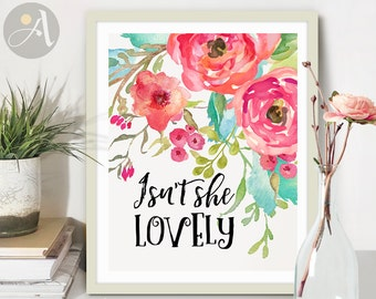 """Printable Wall Art digital download inspirational quote Artwork """"Isn't she lovely"""" for girls nursery home decoration, craft projects ArtCult"""