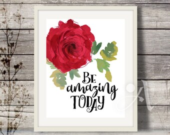 ArtCult printable artworks BE AMAZING TODAY inspirational quote, art print, instant download for home and girls room, ArtCult digital goods