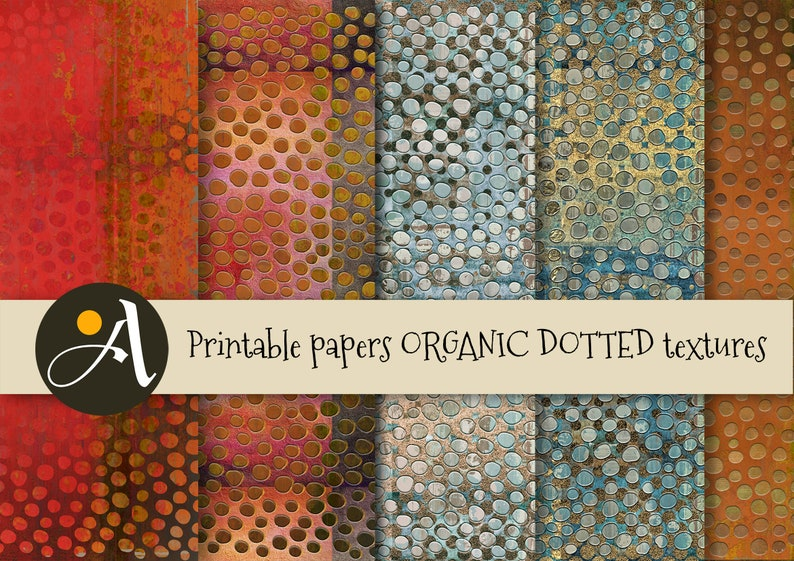 scrapbooking decoupage ArtCult designs 5 large sheets for craft art projects Printable digital papers ORGANIC DOTTED TEXTURES photography
