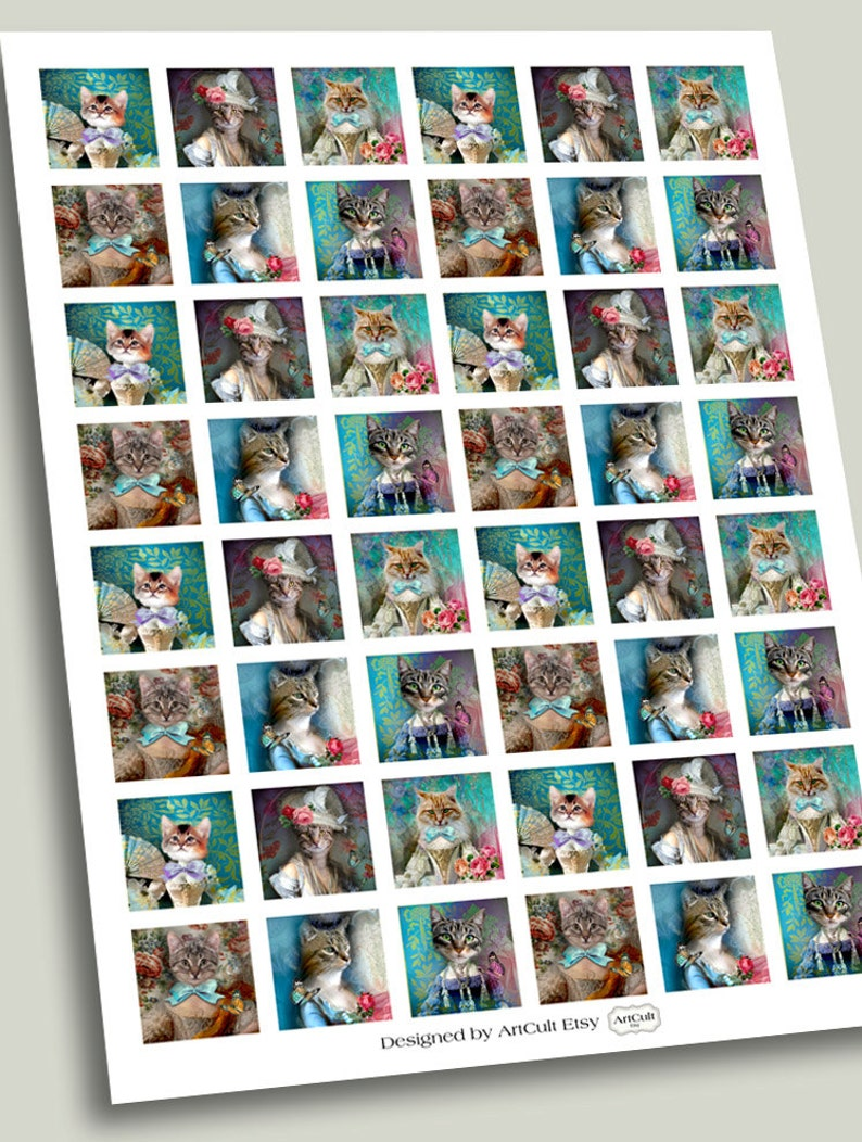 paper craft Printable downloads Art Cult graphics Digital Collage Sheets LADY CAT 1x1 inch and 2x2 inch size images for pendants magnets