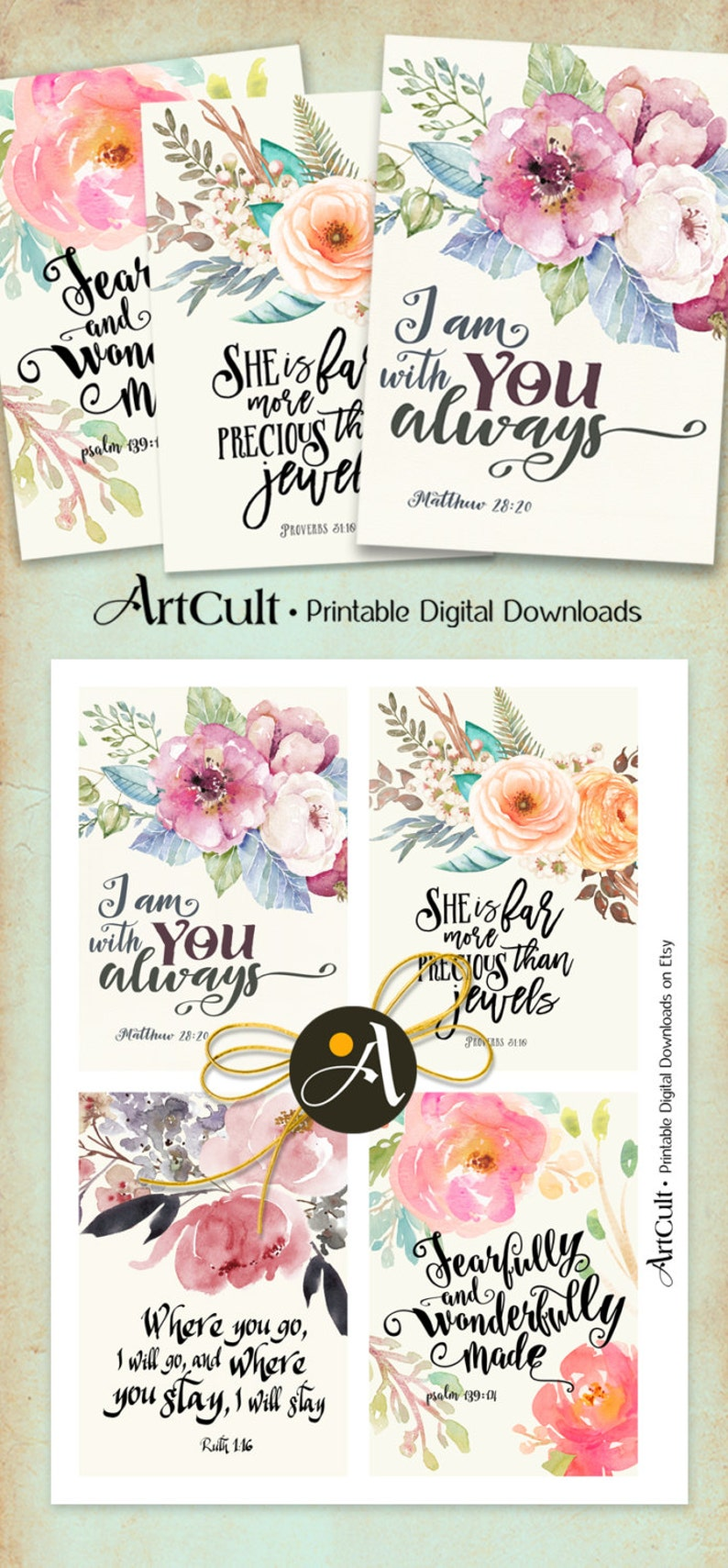 Printable Greeting Cards No2 BIBLE VERSES Four 35x5 Inch