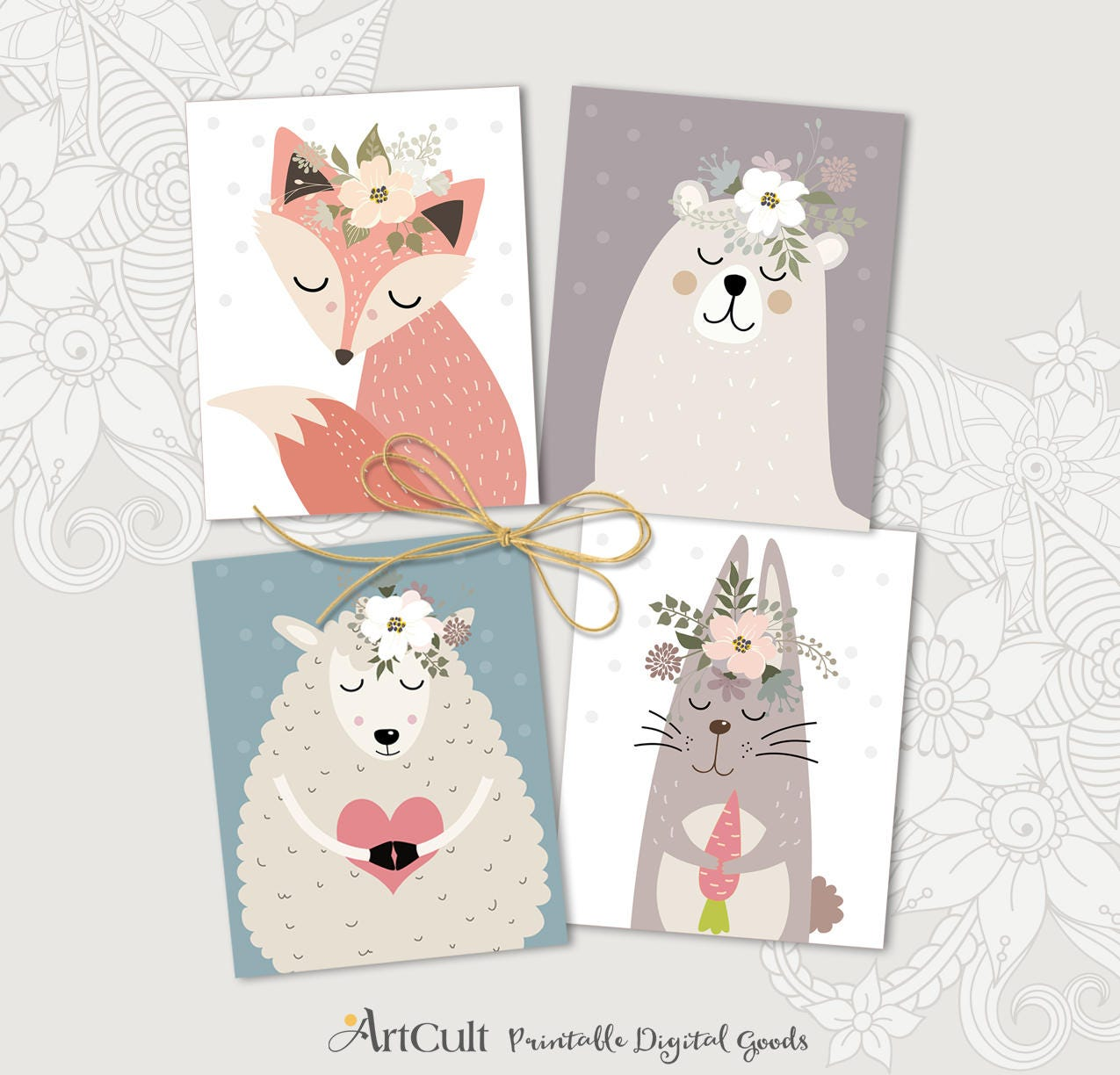 Printable Sweet Boho Animals Greeting Cards For Birthday Etsy