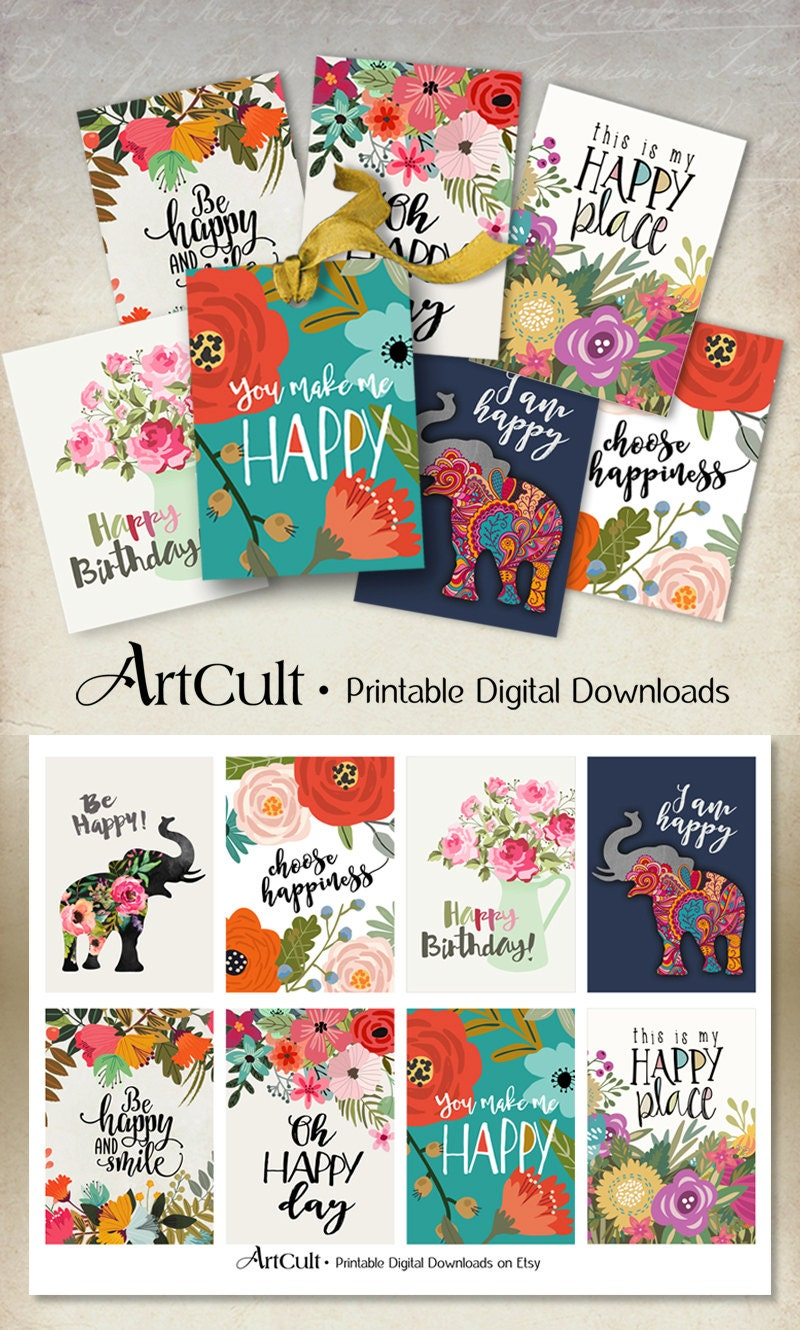 Printable Download Happy Tags Inspiration Quotes Etsy