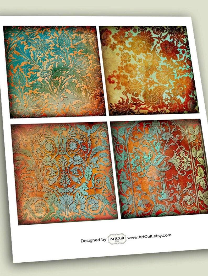coasters decoupage Printable Download Digital Collage Sheet RUSTY PAPER ORNAMENTS Unique Backgrounds Art Cult Vintage Paper for Scrapbook