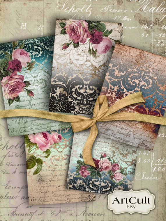 Printable Download VICTORIAN DAMASK Gift Tags Digital Collage Sheet Jewelry holders craft paper Greeting cards Shabby Labels Art Cult