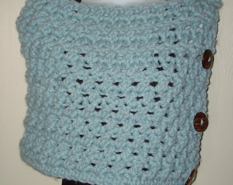Crochet Cowl Scarf-Katlyn Winter Mountain Capelet-Glaicier Blue Cowl Scarf-Women's Accessories-Neckwarmer- Fall -Women's Blue Cowl-Capelet