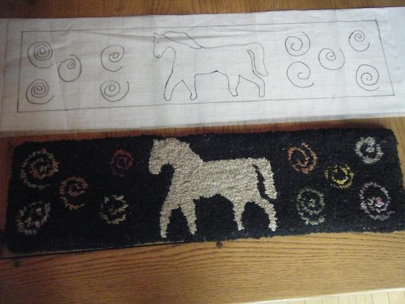 Primitive Horse Stair Tread Rug Hooking Pattern On Gridded | Etsy