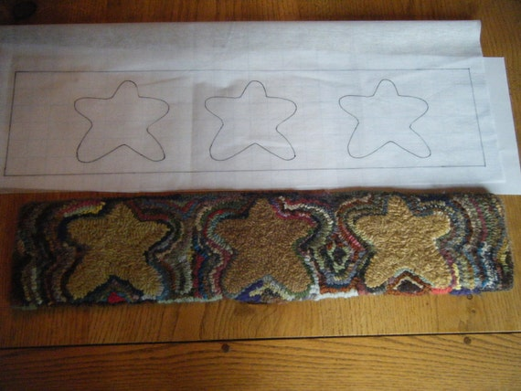 Primitive Stars Stair Tread Rug Hooking Pattern On Gridded | Etsy