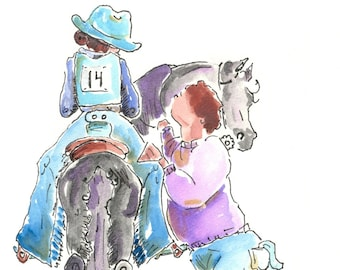 Horse Show Mom Watercolor and Ink Print Western cowgirl Art