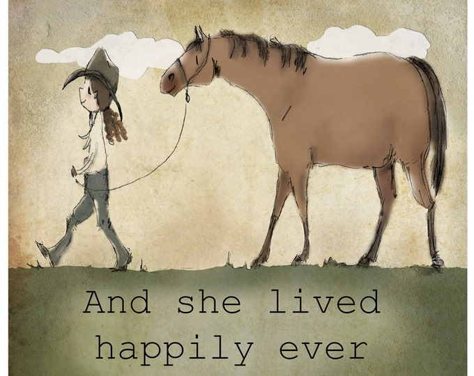 Featured listing image: Bay Happily Ever After Western cowgirl artwork
