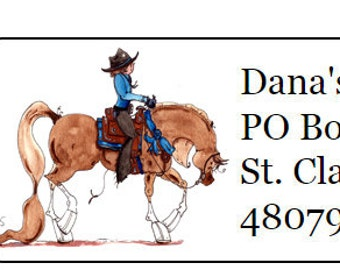 Arabian Pleasure Western Horse Silhouette Return Address Labels -120 labels