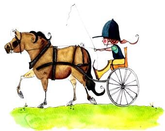Endurance Driving Cart Horse Print