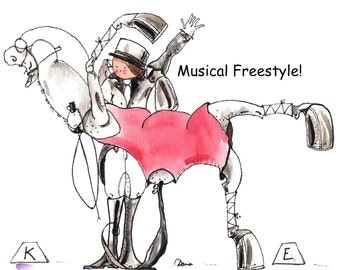 "Musical Freestyle.  Dressage Horse Art Print 8"" x 10"""