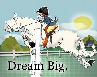 White Horse Dream Big.  Hunter Jumper  Horse art print. Dana's Doodles.