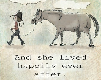"And she lived happily ever after.  Horse art collage.  Dana's Doodles 10"" x 10"""