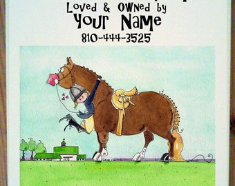 Hunter Hunt Seat Pony or  Horse Stall Sign with up to four lines of personalization.