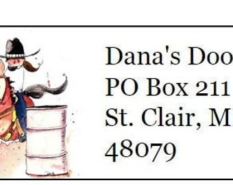 Barrel Racer Western Horse Silhouette Return Address Labels -120 labels