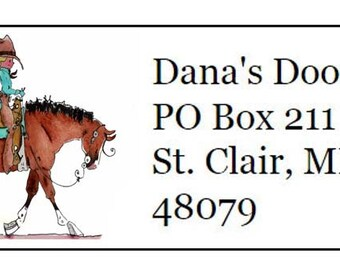 Cowgirl Horse Return Address Labels -120