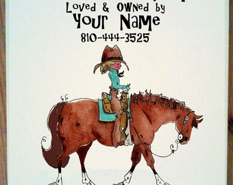 Western Horse Stall Sign with up to four lines of personalization.